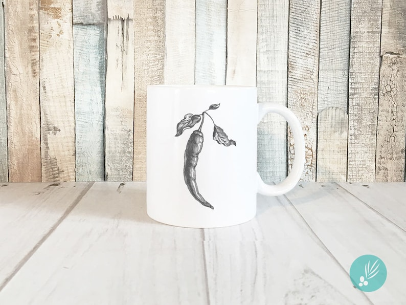 Unique Coffee Mugs Cayenne Pepper Print Mug Farmhouse image 0