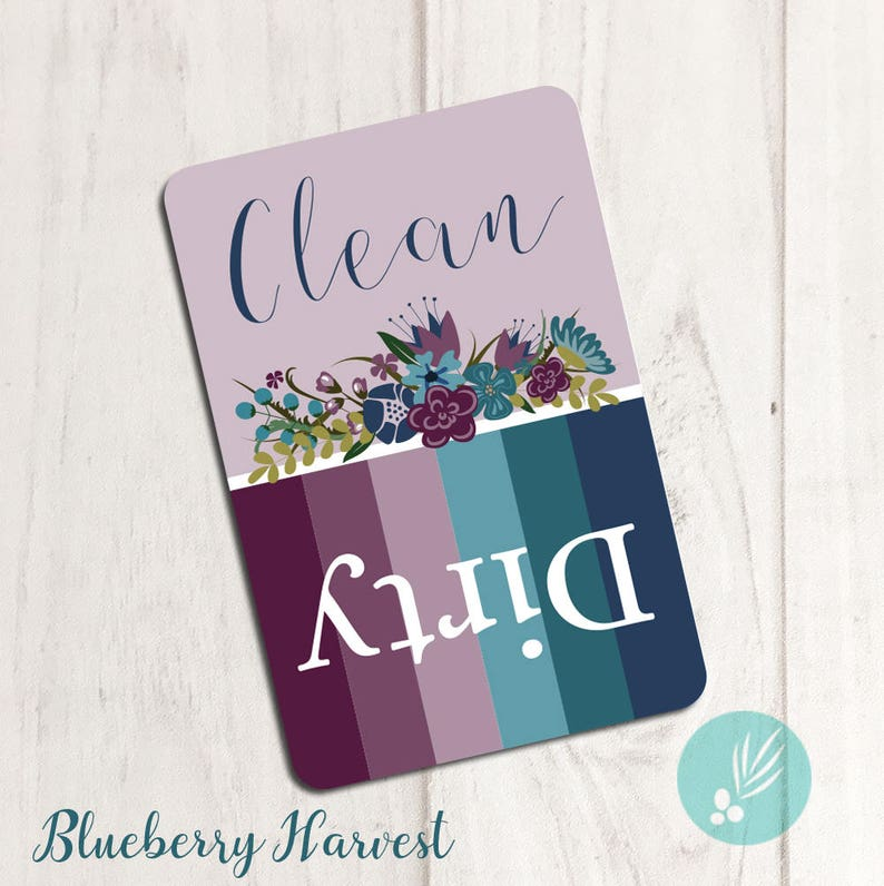 Pretty Dishwasher Magnet Dishwasher Clean Dirty Magnet Blueberry Harvest
