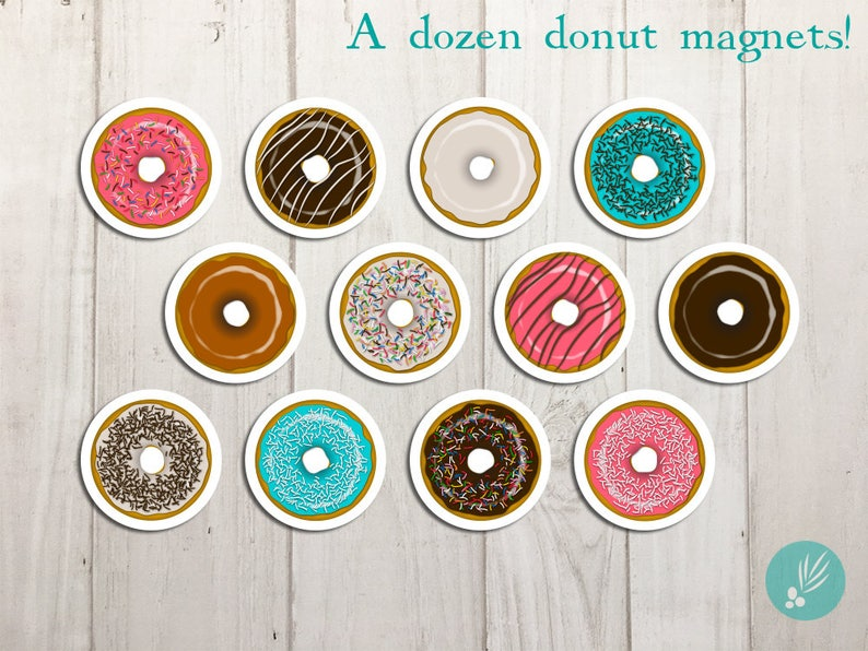 Refrigerator Magnets Donut Magnet Set Refrigerator Magnet image 0
