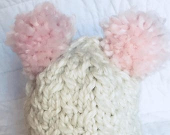 The Morgan Hat: infant or toddler knit hat with two pompoms