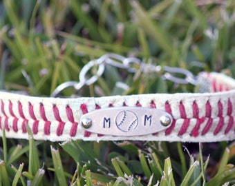 Real Baseball Leather Seam Bracelet • Baseball Mom • Custom Stamped Charm • ID bracelet • adjustable • baseball jewelry • recycled baseball