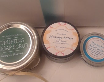 Gift Box/ Sugar Body Scrub/ Choice of Butter/ Headache Relief Balm/ All Natural/ Perfect Gift To Show You Care/ Be Pampered!