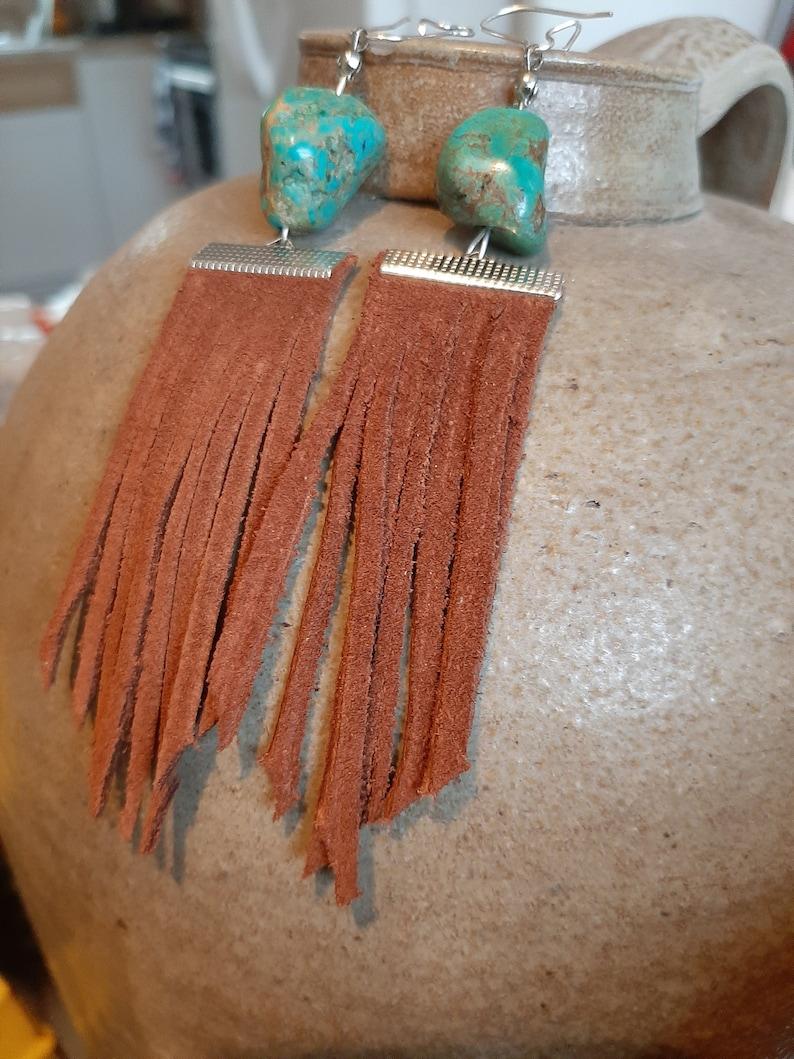 Leather fringe /& stone earrings