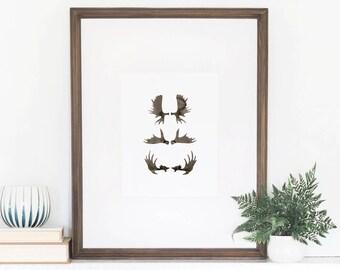 Moose Antlers Print, Moose Decor, Moose Antler, Watercolor Art Print, Watercolor Lettering, Wall Art Quote, 8x10 Print, Moose, 5x7 Print