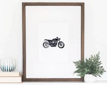 Motorcycle Watercolor Art Print, Motorcycle Print, Motorcycle Wall Art, Triumph Motorcycle, Motorcycle Home Decor, Watercolor Motorcycle
