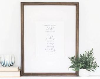 Micah 6:8 Print, Handlettered Print, Watercolor Art Print, Wall Art Quotes, Wall Art Verse, 8x10 Art Print, Micah Verse, Bible Verse Print