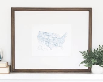 United States Watercolor Art, United States Print, United States Wall Art, United States, US Watercolor States, US Map, United States