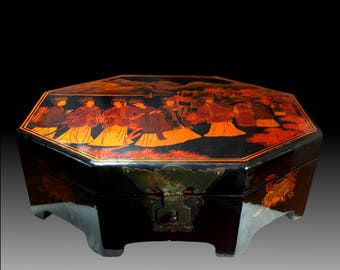 Vintage Chinese Octagonal Lacquered Box - Very Unusual