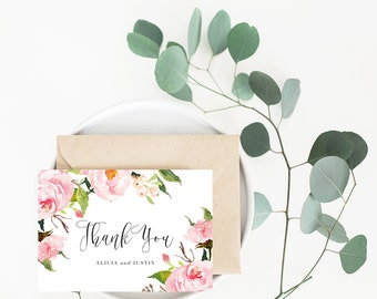 Printable Wedding Thank You Card / Customized Thank You Card, Thank You Card  - In Bloom Suite
