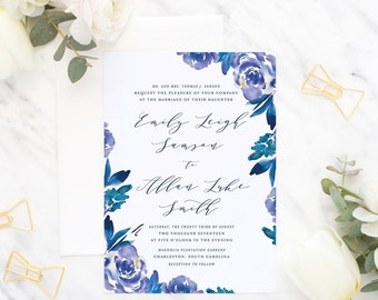 Printable Wedding Invitation Suite / Wedding Invite Set - Charming Blooms