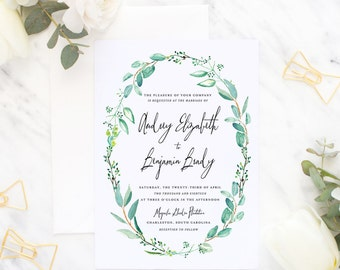 Printable Wedding Invitation Suite / Wedding Invite Set - The Audrey Wreath Suite
