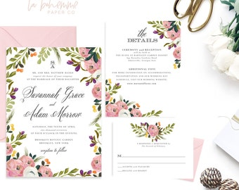 Printable Wedding Invitation Suite / Wedding Invite Set - Savannah Grace