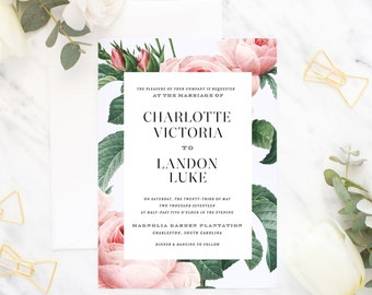 Printable Wedding Invitation Suite / Wedding Invite Set - The Blush Pink Botanical Suite
