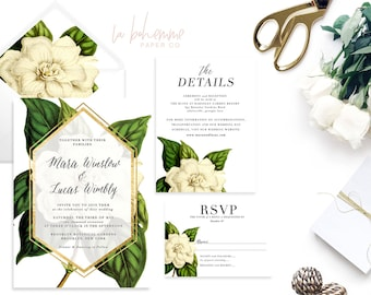 Printable Wedding Invitation Suite / Wedding Invite Set - The  Mara Botanical Suite