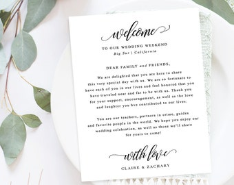 wedding welcome letter customized welcome letter printable welcome card wedding thank you decorative