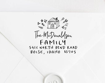 Return Address Stamp, Address Stamp, Custom Address Stamp, Housewarming Gift, Personalized Return Address Stamp, Rubber Stamp 100