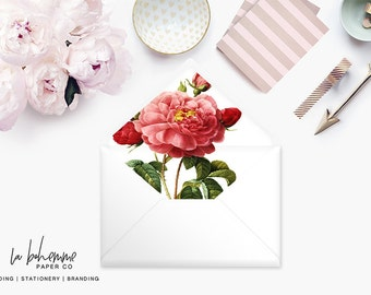 Printable Envelope Liner  | Botanical Envelope Liner | Envelope Liner Template - Red Rose
