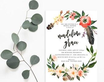 Printable Bridal Shower Invitation /  Shower Invite, Boho Invitation, Wedding Shower, Madeline