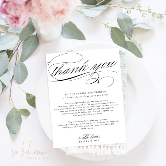 Wedding Thank You Letter Wedding Thank You Note Printable Etsy