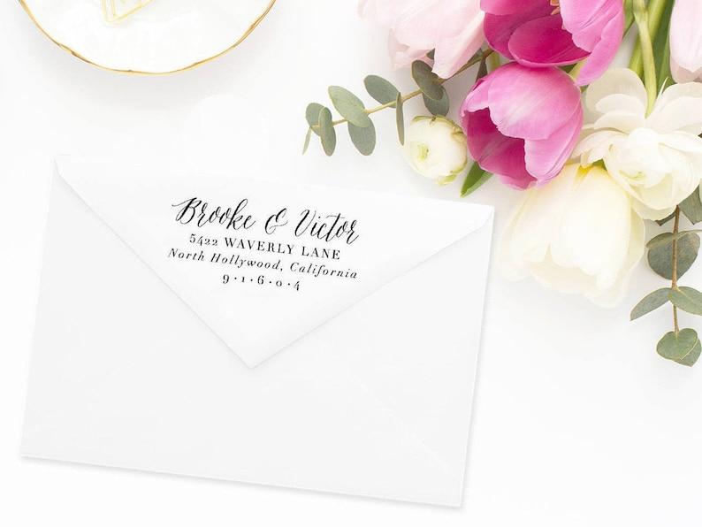 Rubber Stamp #41 Wedding Return Address Stamp Custom Address Stamp Address Stamp Personalized Return Address Stamp Return Address Stamp