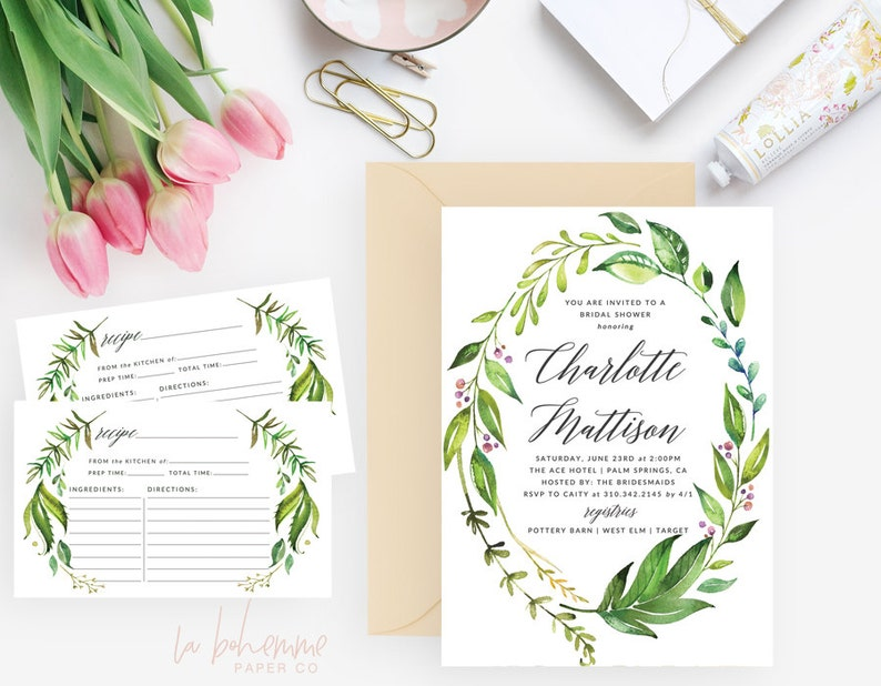Charlotte Wreath Wedding Shower Printable Bridal Shower Invitation   Shower Invite