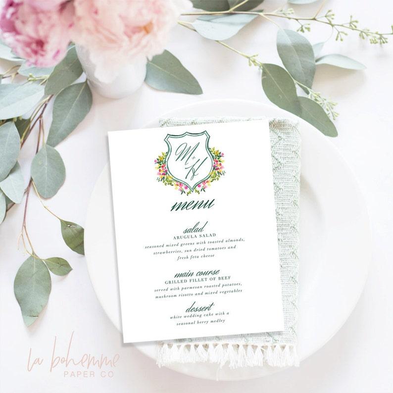 Spring Floral Crest Suite Printable Wedding Menu  Menu Cards Printable Menu Wedding Menu Printable