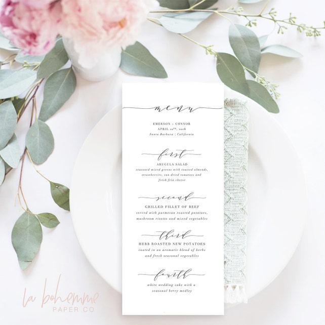 Printable Wedding Menu Cards