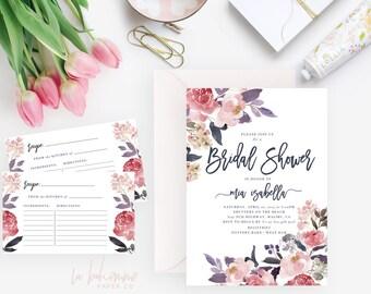 Printable Bridal Shower Invitation /  Shower Invite, Wedding Shower  - Mia Isabella