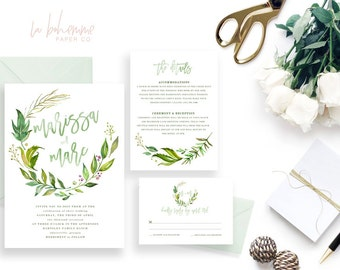 Printable Wedding Invitation Suite / Wedding Invite Set - The Monogram Wreath Suite