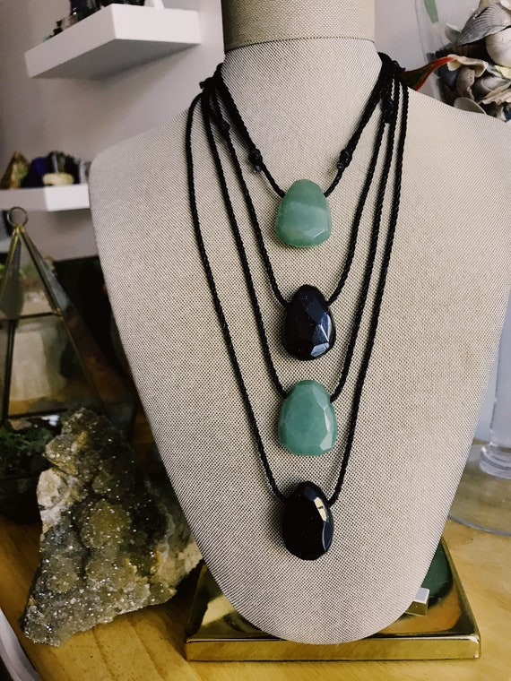 Black Tourmaline / Jade Adjustable Pendant