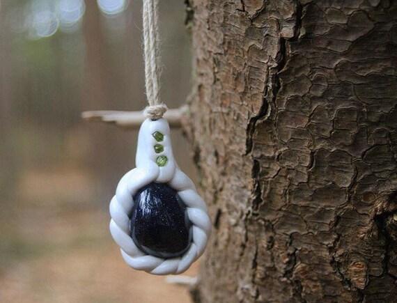 White Swirl Goldstone & Peridot Pendant