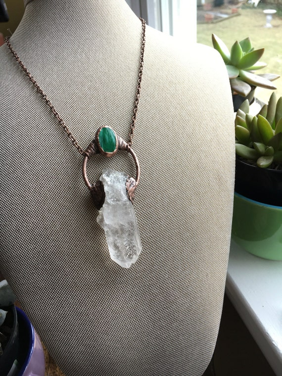 Malachite & Quartz Pendant