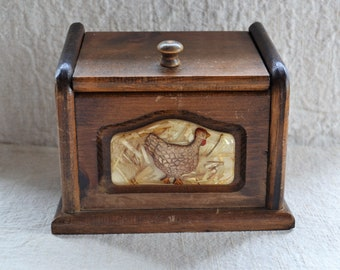 Vintage Recipe Box Rustic Wood Storage Box Chicken Rooster Design Old Wood Box Wood File Box Farmhouse Decor Rustic Kitchen Decor