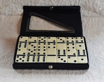 Vintage Dominoes Double Six Travel Size Small Dominoes Vinyl Case Retro Tile Game Black and White Domino Tiles