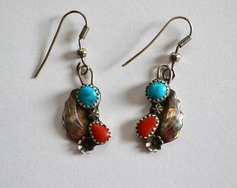 Vintage Native American Style Earrings Silver Turquoise Coral Leaf Flower Design Serrated Bezel South Western Pierced Earrings