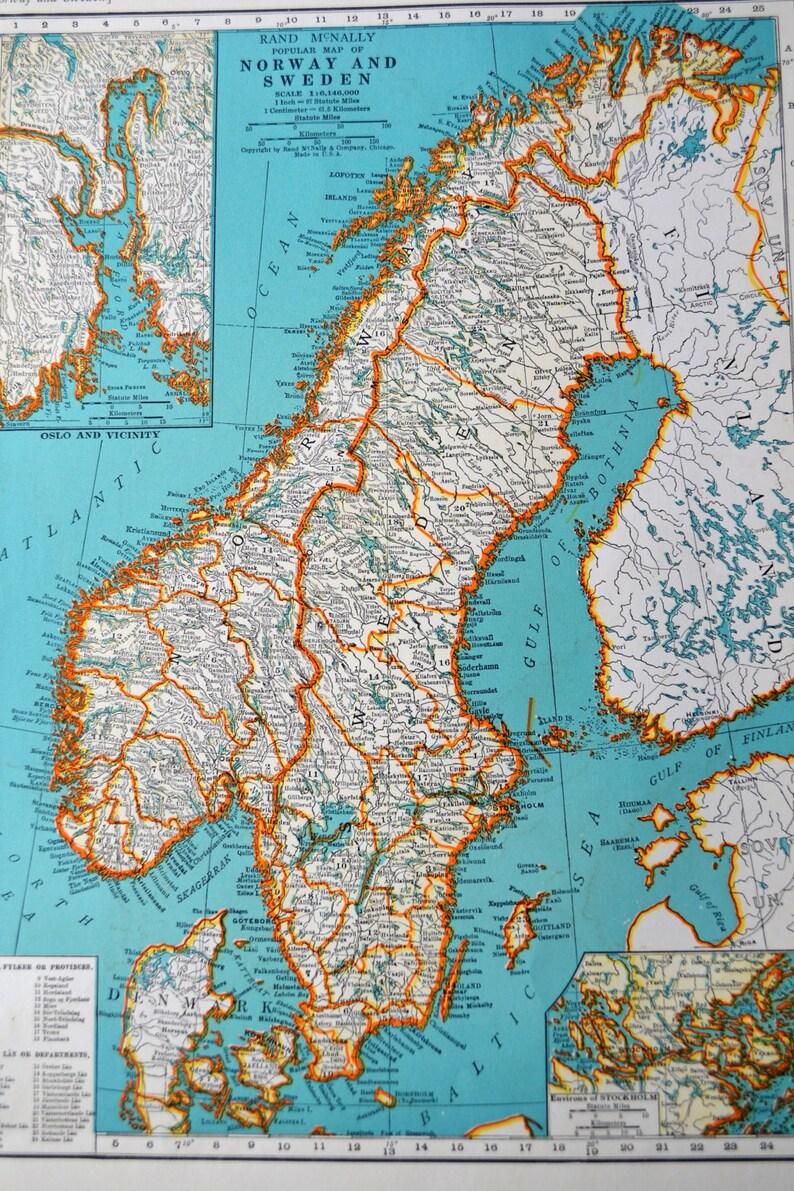 Karte Norwegen Schweden.Jahrgang Norwegen Schweden Karte Antike 1941 Atlas Karte Wwii ära Mitteleuropa Auf Rückseite Wand Dekor Künstlerbedarf 14 X 11 Alte Papierkarte