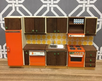 Lundby Vintage MCM Kitchen Set | 1960s 1970s Dollhouse Miniatures | Sink Dishwasher Refrigerator Stove Oven | Orange w Yellow Dots | 1:16