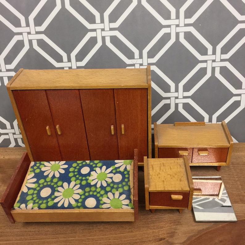 best service 135c3 575db Vintage GERMAN Wood MCM Bedroom Set of 4 | 1950s 1960s Dollhouse Miniature  Furniture | Twin Bed Wardrobe Vanity Mid Century Modern 1:12