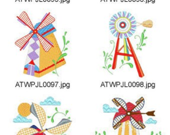 Windmills ( 10 Machine Embroidery Designs from ATW ) XYZ17C