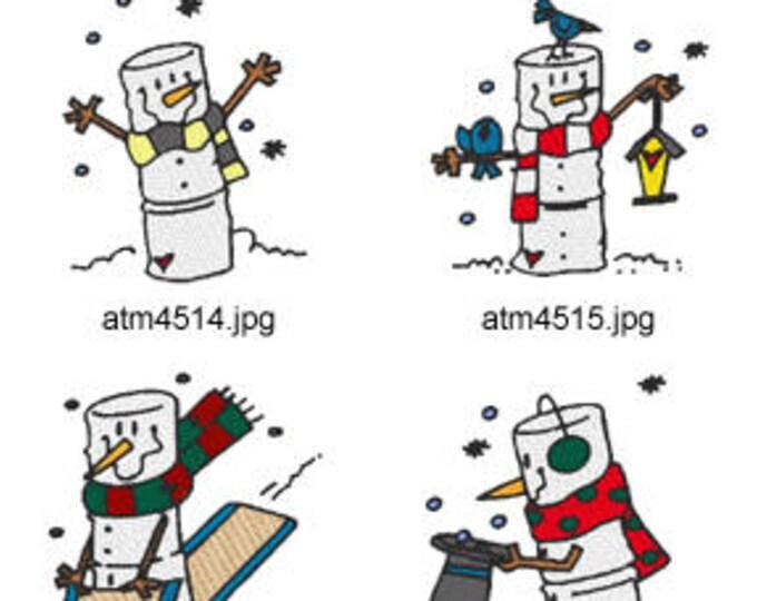 Marshmallow-Snowmen  ( 6 Machine Embroidery Designs from ATW ) XYZ17M