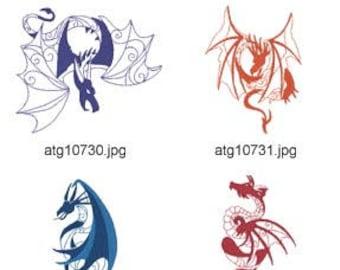 Kingdom-of-Dragons 5x7 ( 10 Machine Embroidery Designs from ATW ) XYZ17E