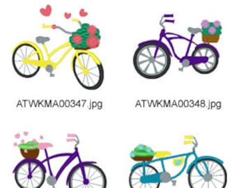 Spring Bicycles-5x7 ( 10 Machine Embroidery Designs from ATW ) XYZ17D