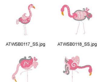 Decorative-Flamingos ( 10 Machine Embroidery Designs from ATW ) XYZ17f