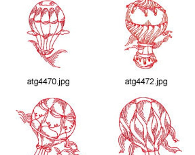 RedWork-Hot-Air-Balloons 4x4 5x7  ( 8 Machine Embroidery Designs from ATW ) XYZ17D