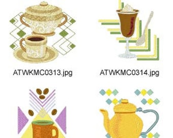 Retro-Coffee-and-Tea ( 10 Machine Embroidery Designs from ATW ) XYZ17C