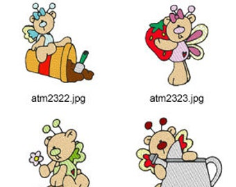Garden-Butterfly-Bears ( 7 Machine Embroidery Designs from ATW ) XYZ17D