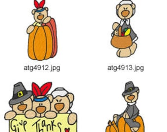 Thanksgiving-Bears ( 7 Machine Embroidery Designs from ATW ) XYZ17I