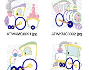 Curly-Train-Applique-5x7-4x4 ( 10 Machine Embroidery Designs from ATW ) XYZ17E