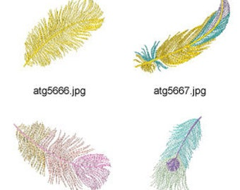 Colorful-Feathers ( 10 Machine Embroidery Designs from ATW ) XYZ17F