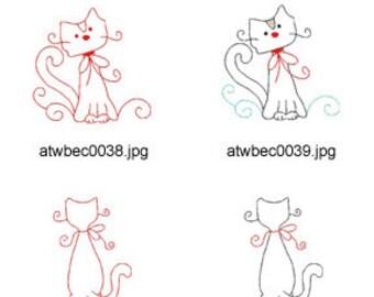 Swirly-Kitties-Redwork ( 10 Machine Embroidery Designs from ATW ) XYZ17C